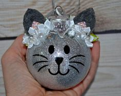 Personalized Christmas Ornament Cat Ornament Kitty ornament Glitter Eyelash Stocking Stuffer Babies First Christmas Pet Gift Cute Christmas Gifts For Pets, Christmas Ornament Crafts, Christmas Animals, Babies First Christmas, Personalized Christmas Ornaments, Xmas Crafts, Christmas Cats, Christmas Baubles, Homemade Christmas
