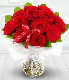 1 2 3 Forever - Dozen Red Rose aqua packed bouquet by Passion For Flowers Liverpool, Valentines Day 2014