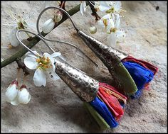 Pure Silk Earrings, boho style, rustic, etnic, bohemian, retro earrings, womens jewelry, handmade earrings, antiqued metal by TheWoodlandNostalgia on Etsy