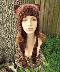 Brown Knit Hat Brown Womens Hat Brown Ear Flap Cat Hat