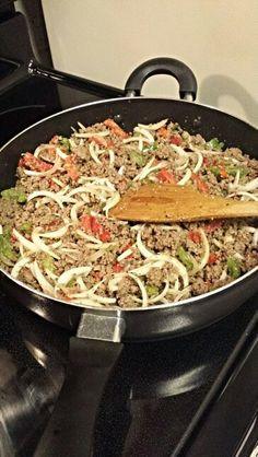 Dinner tonight...cuban hamburger.   Hamburger meat , peppers & onions and spices.   #1 - cookin
