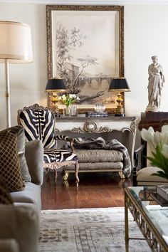 St. Dennis Console Table, View of the Tiber I Painting, Jesi Arm Chair, Naples Floor Lamp, Il Bella Table Lamp, Grecian Female Figure, Cavello II Ottoman, Area Rug all by @ebanistacollect. Exquisite hand-crafted home furnishings. Discover more at http://www.ebanista.com.