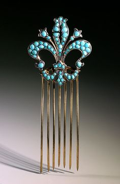 turquoise comb with fleur-de-lis pattern, French, early 20th century