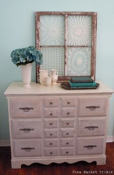 I love this idea of framing vintage doilies from the Flea Market Trixie blog