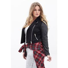 def3042b4f1b3 FOREVER 21+ PLUS SIZES Faux Leather-Sleeve Moto Jacket ( 25) found on