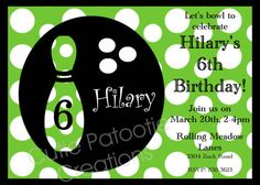 Bowling Birthday Invitation Bowling by CutiesTieDyeBoutique, $15.00