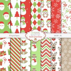 Red and Green Christmas digital paper with snowflakes, trees, bells, candy canes, penguin, deer, snowmen, santa, red, green & tan patterns