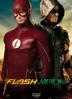 An updatedFlash and Arrow poster featuring The Flash in his season 2 costume and Arrow, now known as Green Arrow, in his season 4 costume.