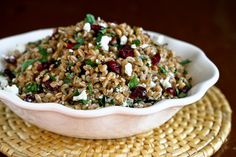 Farro, Cranberry and Goat Cheese Salad - 2 cups Pearled Farro 2 Tablespoons Balsamic Vinegar 1 teaspoon Dijon Mustard ¼ teaspoons Garlic Powder ½ teaspoons Dried Rosemary ¼ cup...