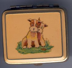 Powder compact Lipstick Case, Lipstick Holder, Vintage Makeup, Vintage Vanity, Vintage Purses, Vintage Handbags, Vintage Dog, Vintage Prints, Wirehaired Fox Terrier