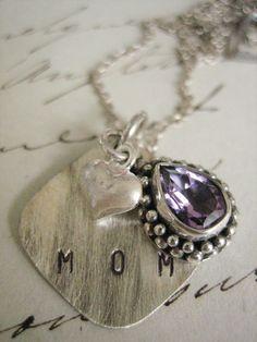 hand stamped mommy necklace handstamped jewelry by hazelnutcottage, $94.00