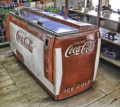 Vintage Coke Cooler (still works!) in General Store -