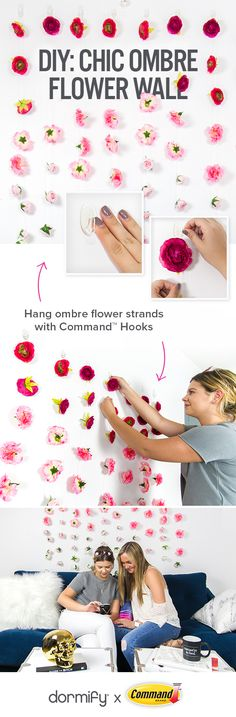 Allow your space to bloom with style with a chic ombre flower wall that fades from one color to the next. Do It Yourself Wedding, Roomspiration, Photo Craft, Crafty Craft, Dorm Decorations, Flower Wall, Cool Diy, Diy Wedding, Command Products