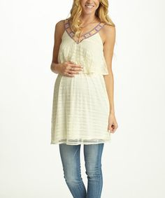Loving this PinkBlush Ivory Lace-Trim Overlay Maternity Tank Top on #zulily! #zulilyfinds