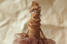 primitive vintage grungy fabric doll