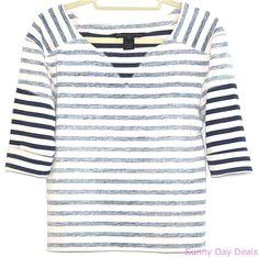 Marc Jacobs Shirt Striped Sweatshirt Multi-Color Breton 3/4 Sleeve Juniper XS #MarcbyMarcJacobs #KnitTop #Casual