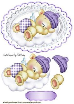 LITTLE SLEEPY TEDDY BEAR ON A CLOUD on Craftsuprint - Add To Basket! 3d Cards, Cute Cards, Tatty Teddy, Teddy Bear, Baby Girl Clipart, Baby Shower Images, Image 3d, Baby Shower Souvenirs, Free Printable Cards