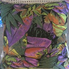 Vibrant Tropical Foliage Handmade Pillow Faux by beachsidestyle