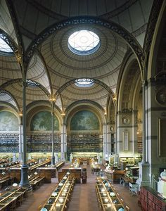 The Reading room of the French National Libray, Richelieu Site, designed by Henri Labrouste,  2 Rue de Louvois, Paris II