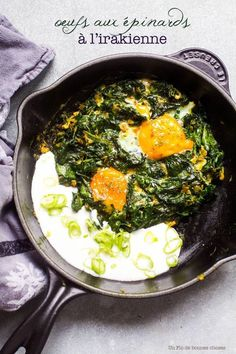 Spinateier im Irak - Makhlama bil Sbenagh - Miam salés - Easy Cooking, Cooking Recipes, Gourmet Recipes, Food Porn, Spinach Egg, Spinach Soup, Vegetarian Recipes, Healthy Recipes, Vegetarian Sweets