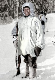 Simo Häyhä with his M/28-30 during the Winter War [1500x2156] (Colorized OC)