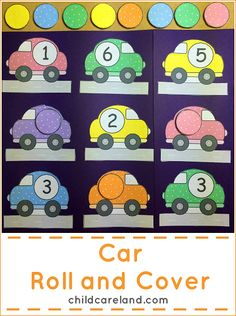 Car Roll and Cover File Folder Game ... I made this for our math center.  Can also be used as a quiet time activity and for early arrivals.