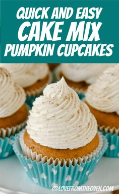 Easy Pumpkin Cupcakes With Cinnamon Sugar Frosting. These start from a cake mix, but get doctored up and are delicious! Easy Pumpkin Cupcakes With Cinnamon Sugar Frosting. These start from a cake mix, but get doctored up and are delicious! Thanksgiving Cupcakes, Pumpkin Cupcakes Easy, Cinnamon Cupcakes, Spice Cake Mix And Pumpkin, Christmas Cupcakes, Christmas Desserts, Cake Mix Cupcakes, Cupcakes Fall, Cupcake Cakes
