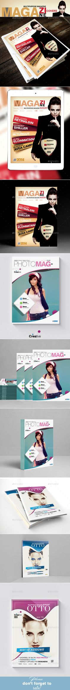 Multipurpose Magazine Cover Templates Bundle 3in1 - #Magazines Print Templates Download here:   https://graphicriver.net/item/multipurpose-magazine-cover-templates-bundle-3in1/11215638?ref=alena994