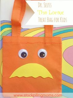 Love this simple Dr. Seuss The Lorax Treat Bag made with Dollar Store supplies!