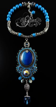 """Blue Silver 16""""-18"""" necklace by LiaReed (Guzialia Reed - GR Jewelry) on Etsy  Created with Botswana agate, Swarovski crystals, antique silver findings from India (~$130.00)"""