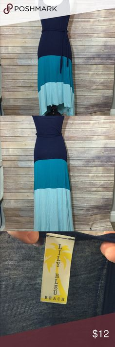 Medium high low cotton maxi dress Medium high low cotton maxi dress with color blocking of different shades of blue. Lily Bleu Beach Dresses High Low