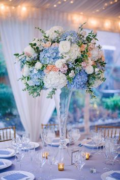 Soft Blue Hues with Pops of Peach at Decatur House in Washington, D. Wedding Flowers: Soft Blue Hues with Pops of Peach at Decatur House in Washington, D. Baby Blue Weddings, Blue And Blush Wedding, Blush Wedding Colors, Spring Wedding Flowers, Blush Pink Weddings, Winter Weddings, Burgundy Wedding, Baby Blue Wedding Theme, Fall Wedding