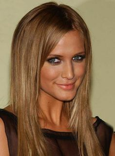 Dark blonde/ light brown hair with extensions on Ashley Simpson