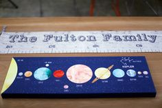 Super cool solar system art print!  Personalized with child's birth constellation.  Watercolor planets almost glow against night sky. $49.99+