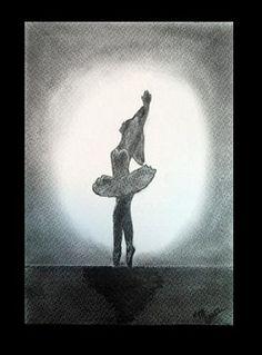 Pasos de ballet III - Lápiz carbón - 24x35