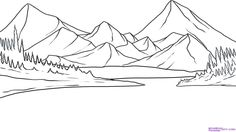 Mountain Landscape Drawing 4277 Hd Widescreen