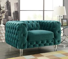 Iconic Home Syracus Tufted Velvet Plush Accent Club Chair Green