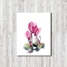 Watercolor Print, Cyclamen Watercolor Painting Art Print, Floral Modern Wall art, Pink Green by CanotStopPrints on Etsy
