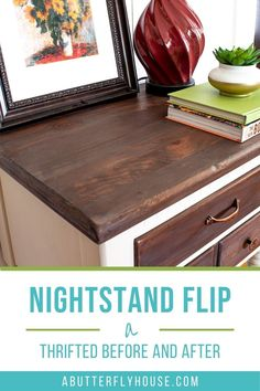 Two-toned thrifted nightstand before and after shows all the details of the transformation! #furnitureflip #thrifted Thrift Store Furniture, Furniture Wax, Furniture Makeover, Painted Night Stands, Habitat For Humanity Restore, Paint Stripper, Butterfly House, White Chalk Paint, Walnut Stain