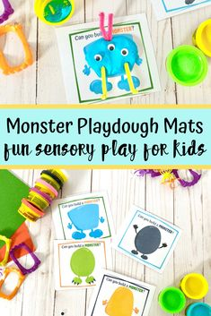 These monster playdough mats encourage creativity and sensory play. Simply print, laminate and assemble. Great for a Halloween party or busy bag. #halloweenactivities #halloweenparty #kidsactivities #sensoryplay #playdoughmats #monsterplaydough