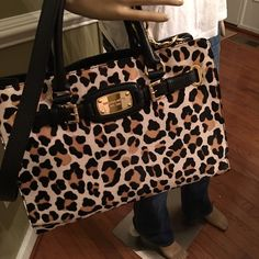 """❤️❤️Large calf hair leopard Print Tote ❤️❤️ Great gift for yourself 14.5""""L x 10.5"""" H x 6"""" D measurements approx great authentic Tote MICHAEL Michael Kors Bags Totes"""