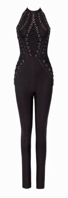 'Timarra' Backless Bandage Jumpsuit - Black
