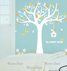 Tree with Flying Birds Vinyl Wall by NatureStyle on Etsy, $55.00