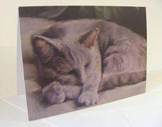 Small cat notecards sleeping cat design by pastelesta on Etsy £6
