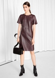 5eb953fbc4a  amp  Other Stories image 1 of Leather T-Shirt Dress in Red Dark Leather