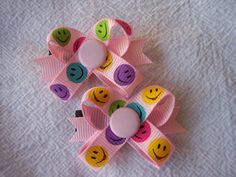 The Original Snap In Dog Bow - Smiley Faces