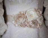 Bridal sash wedding belt Ivory accessores Vintage dress sash with 3 flowers romantic - corsage ribbon dress sash belt pearl rhinestone. $70.00, via Etsy.