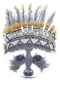 Festivale Raccoon Art Print by Mia Grant | Society6 @Alissa Evans Evans Evans Evans OBrien Phillipoff
