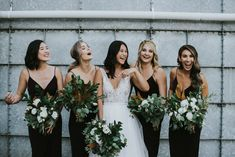 Candice & Scott's Greenhouse wedding at Three Blue Ducks modern black bridesmaid dresses Black Bridesmaids, Black Bridesmaid Dresses, Wedding Bridesmaids, Wedding Dresses, Dresses Dresses, Black Bridal Dresses, Casual Dresses, Dresses Online, Blue Dresses