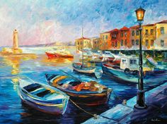Fishing Boats — Palette Knife Seascape Lighthouse Oil Painting On Canvas By Leonid Afremov. Size: X Inches cm x 75 cm) Boat Painting, Oil Painting On Canvas, Canvas Art Prints, Painting Art, Underwater Painting, Painting Lessons, Painting Techniques, Art Texture, Oil Painting Texture